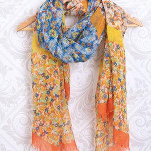 Accessories - Summer Floral Scarf Wrap Orange Blue